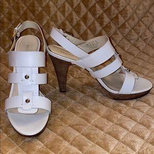 Franco Sarto White Sandal with Wood Heel